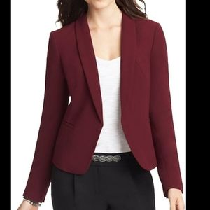 LOFT Maroon Open Blazer 4 Faux Pockets Fitted Long